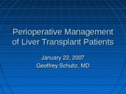 Perioperative Management of Liver Tranplant Patients