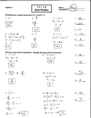 1 1-1 4 Quiz Review Answer Key - Algebra1 1 1 1 4 Name\1 5