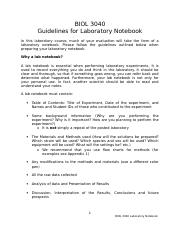 BIOL 3040 Laboratory Notebook Guidelines
