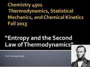 Chemistry 4501-The second Law