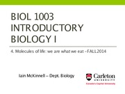 BIOL1003 -4_Molecules of life - Fall2014-cuL