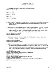 Math 1324 Final Review
