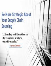 Be More Strategic About Your Supply Chain Sourcing