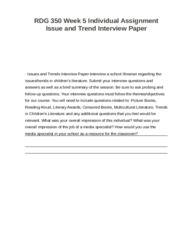 RDG 350 Week 5 Individual Assignment Issue and Trend Interview Paper