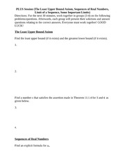 PLUS Session 9 (The Least Upper Bound Axiom, Sequences of Real Numbers, Limit of a Sequence, Some Im