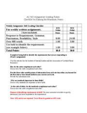 Assignment Grading Rubric
