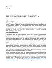History and thought of Geography