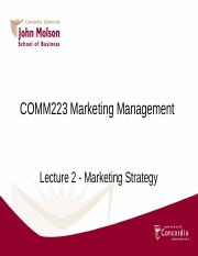Lecture 2 _ Marketing Strategy 2 comm223