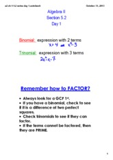 Trinomial Notes