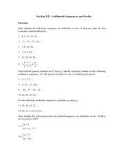 Math 100 Arithmetic Series Assignment
