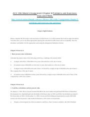 ACC 206 Week 5 Assignment Chapter 8 Problems and Exercises, DQs and FINAL.docx