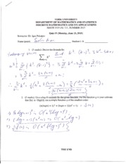 MATH 1019 Quiz 5 Summer 2015