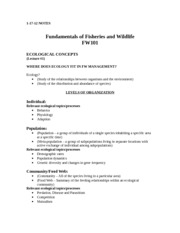 FW 101 Chapter 3 and 4 Notes: Ecological Concepts