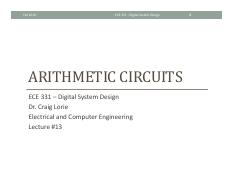 Lecture 13 - Arithmetic Circuits