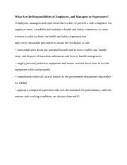 What Are the Responsibilities of Employers   Hrm 386 1.docx