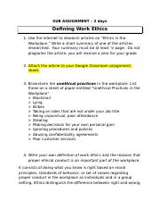 ETHICS IN THE WORKPLACE ASSIGNMENT JJ.docx
