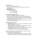 Study Guide One-Sample T Test