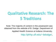 Introduction Qualitative Research.5traditions