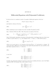 Lecture 26 Differential Equations with Polynomial Coefficients