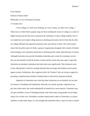 Philosophy of love and sex, paper on fraternities