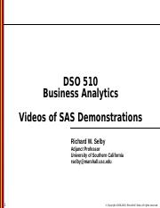 DSO 510 - Videos of SAS Demonstrations.ppt