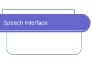 Speech Interface