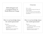 Lecture 3 -- Health Promotion and Behavior Change, Part 1