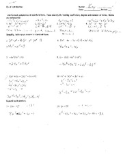 Standard Form Polynomials with key