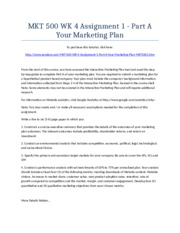 MKT 500 Week 4 Assignment 1 - Part A Your Marketing Plan - Strayer University NEW
