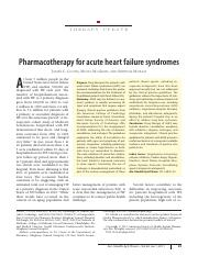 Pharmacotherapy for Acute Heart Failure Syndromes