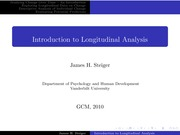Psychology 319 (GCM)_Steiger_Lecture Notes on Introduction to Longitudinal Analysis