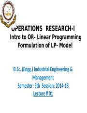 1-3 Intro. to Operations Research & Linear Programming-LP Formulation and Graphical