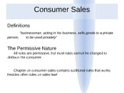 Business Law - 6th Lecture - Consumer Sales