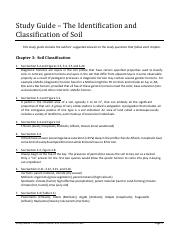 Study Guide - The Identification and Classification of Soil