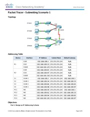 9.1.4.6 Packet Tracer - Subnetting Scenario 1 Instructions