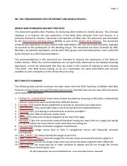 INF 230 Lecture Notes 5 - Mobile Web Best Practices n Standards
