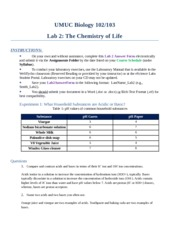 umuc biology 102 103 lab 2 the chemistry of life Umuc biology 102/103 lab 2: the chemistry of life instructions: pre-lab questions 1 nitrogen fixation is a natural process by which inert or unreactive forms of.