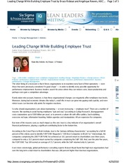 Article - Change and Trust by MBB student Bruce Rideout