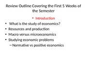 Review Outline Covering the First 5 Weeks of