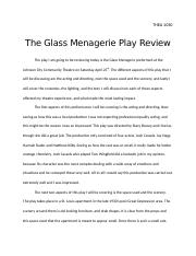 The Glass Menagerie Play Review THEA 1030