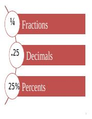Lesson 1 - Fractions Decimals   Percent (Part 1).pptx
