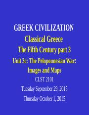 CLST 2101 Unit 3c Classical Greece  part 1 - Peloponnesian War - images and maps