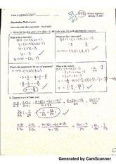 Quadratics Test