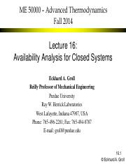 ME 50000 2014 Fall Lecture 16 Availability Closed Systems