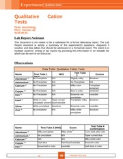 Qualitative Cation Tests