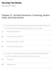 Chapter 21- Suicide Prevention- Screening, Assessment, and Intervention | Nursing Test Banks.pdf