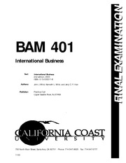 INTERNATIONAL BUSINESS - BAM401FN
