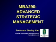 MBA 290-Strategic Analysis