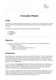 Extrasolar Planets - Introduction and Directions