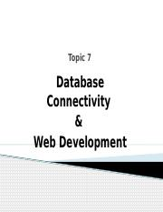 TOPIC 7 - Database Connectivity